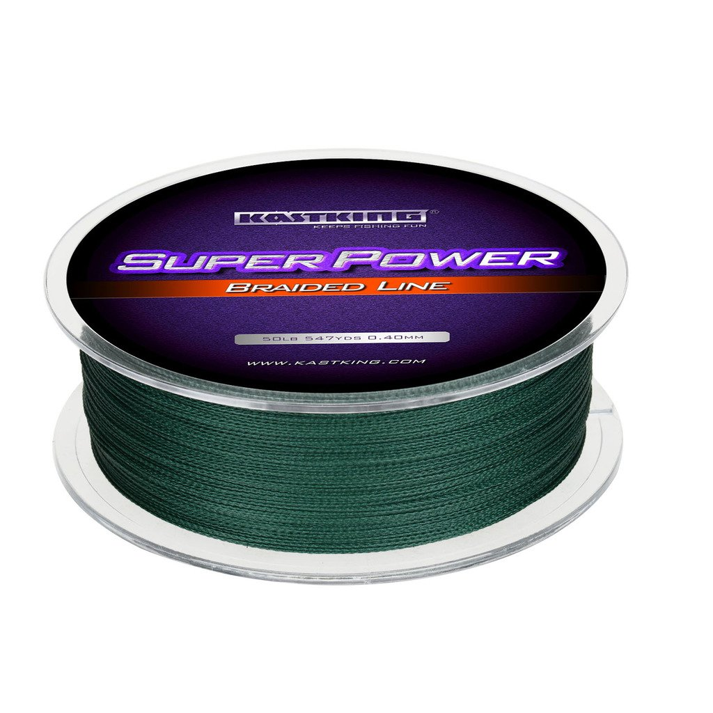 KastKing Superpower Braided Fishing Line,Moss Green,12 LB,547 Yds by KastKing