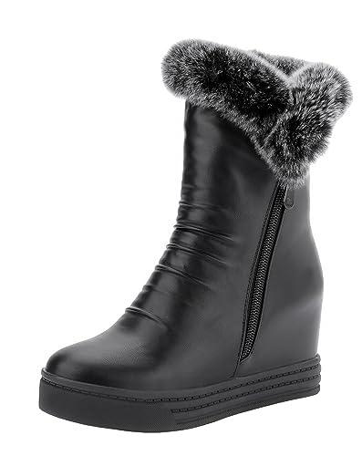 YE Winter Damen Wedges Keilabsatz Stiefel mit Fell Warm Gefüttert Plateau  5cm Absatz Reißverschluss Wasserdicht Outdoor
