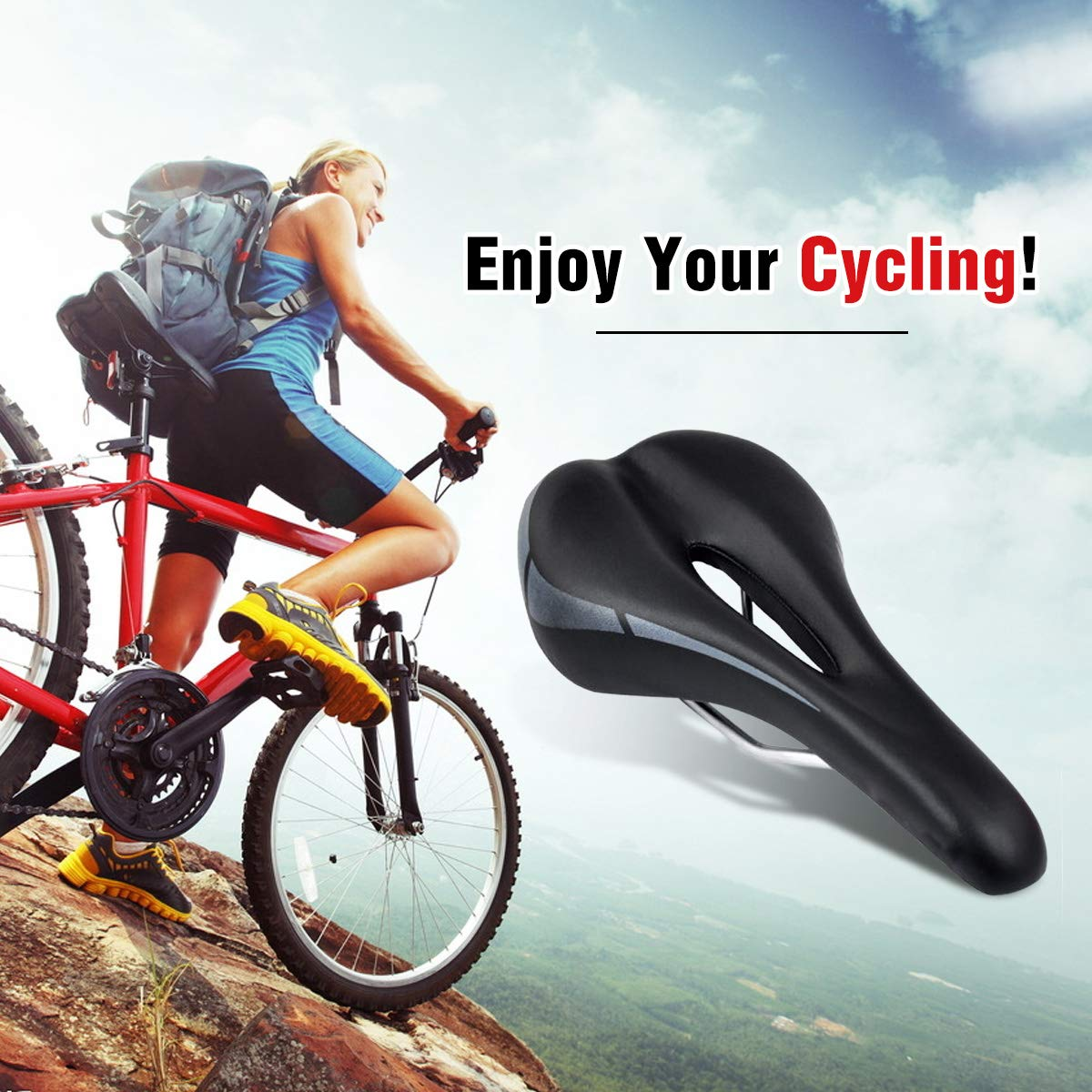 OUTERDO Fahrradsattel MTB Fahrradsitz Gel Mountainbike Sattel City Tourensattel Trekking Rennrad Sattel