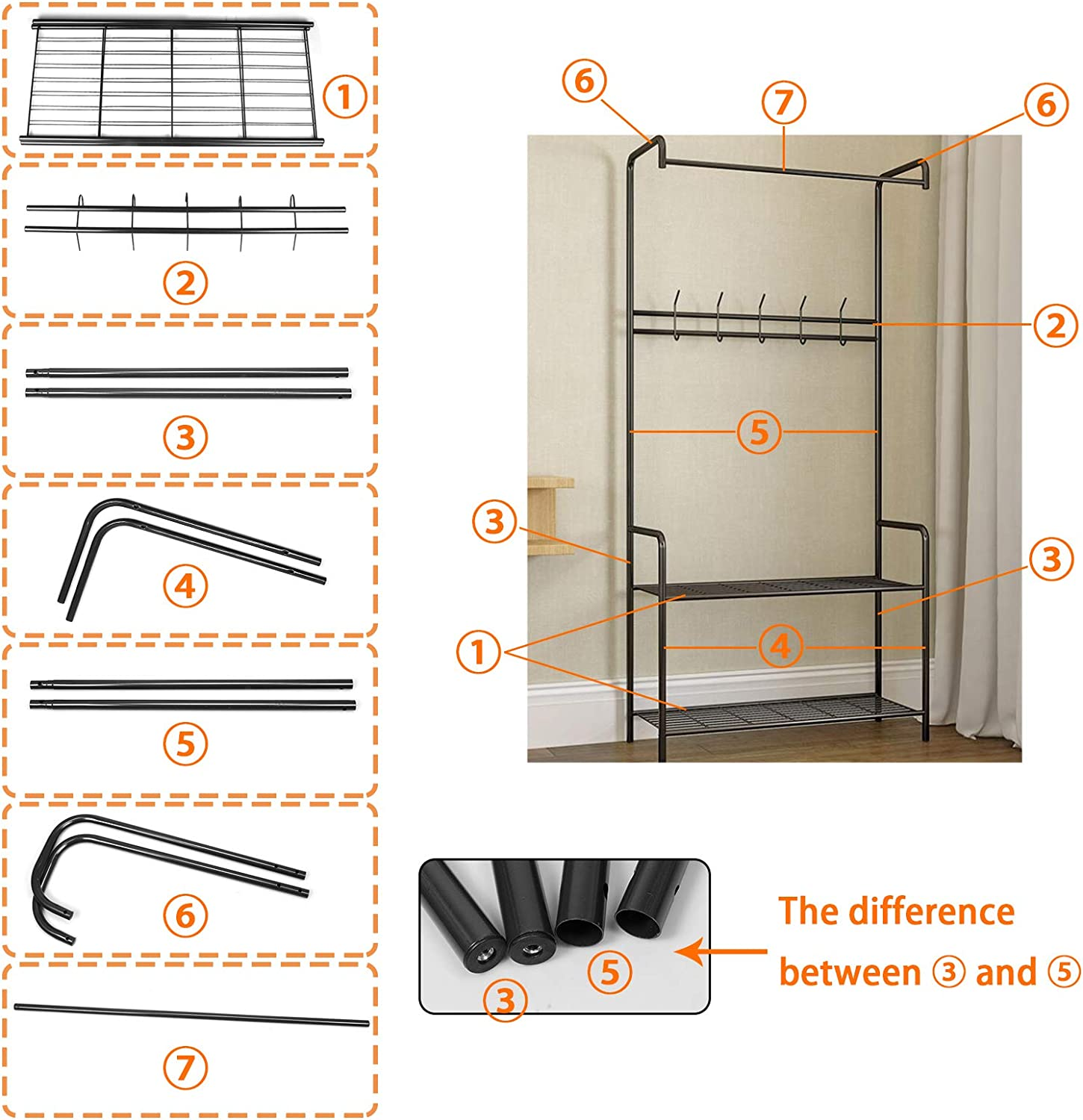 anmas power Bronze Heavy Duty Metal Clothes Rail With Shelf Rack Coat & Hat Stand Home (Black) Black