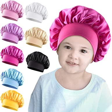 Kids Baby Satin Bonnet Elastic Night Sleeping Hat Wide Band Hat Cap Breathable