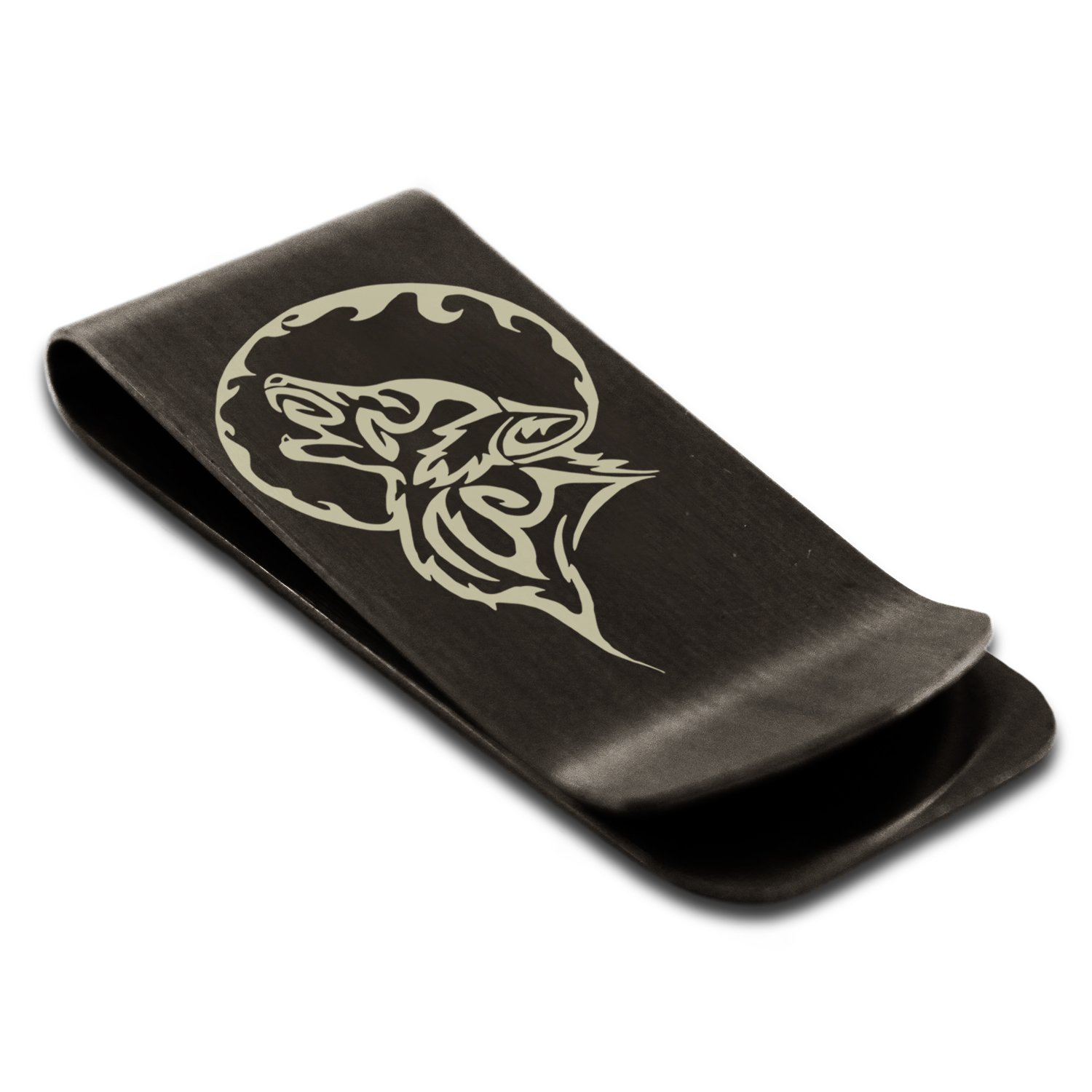 Matte Black Stainless Steel Howling Mad Wolf Engraved Money Clip Credit Card Holder