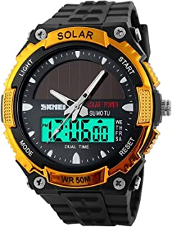 Fanmis Mens Solar Powered Casual Quartz Watch Digital & Analog Multifunctional Sports Watch Gold