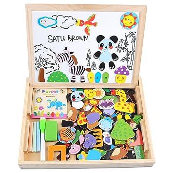 Pizarra doble magnética, Satu Brown, con puzles de 100 piezas de madera, juguete para niños, doble cara, pizarra de dibujo con tiza y caballete de ...