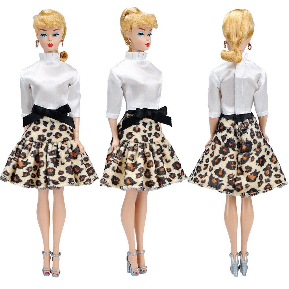 Amazon.es: E-TING Vestido Hecho a Mano de Falda Ropa para muñeca de niña (White Satin Shirt + Leopard Short Skirt)(muñeca no incluida): Juguetes y juegos