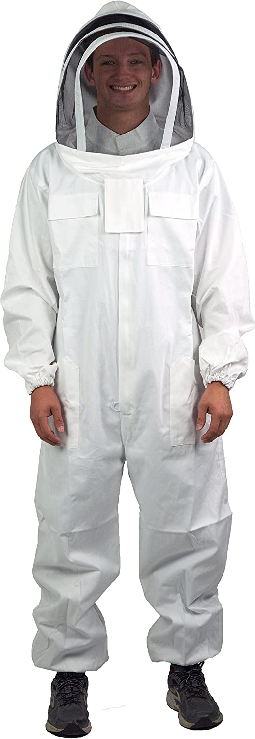 VIVO Professional Cotton Full Body Beekeeping Suit with Veil Hood
