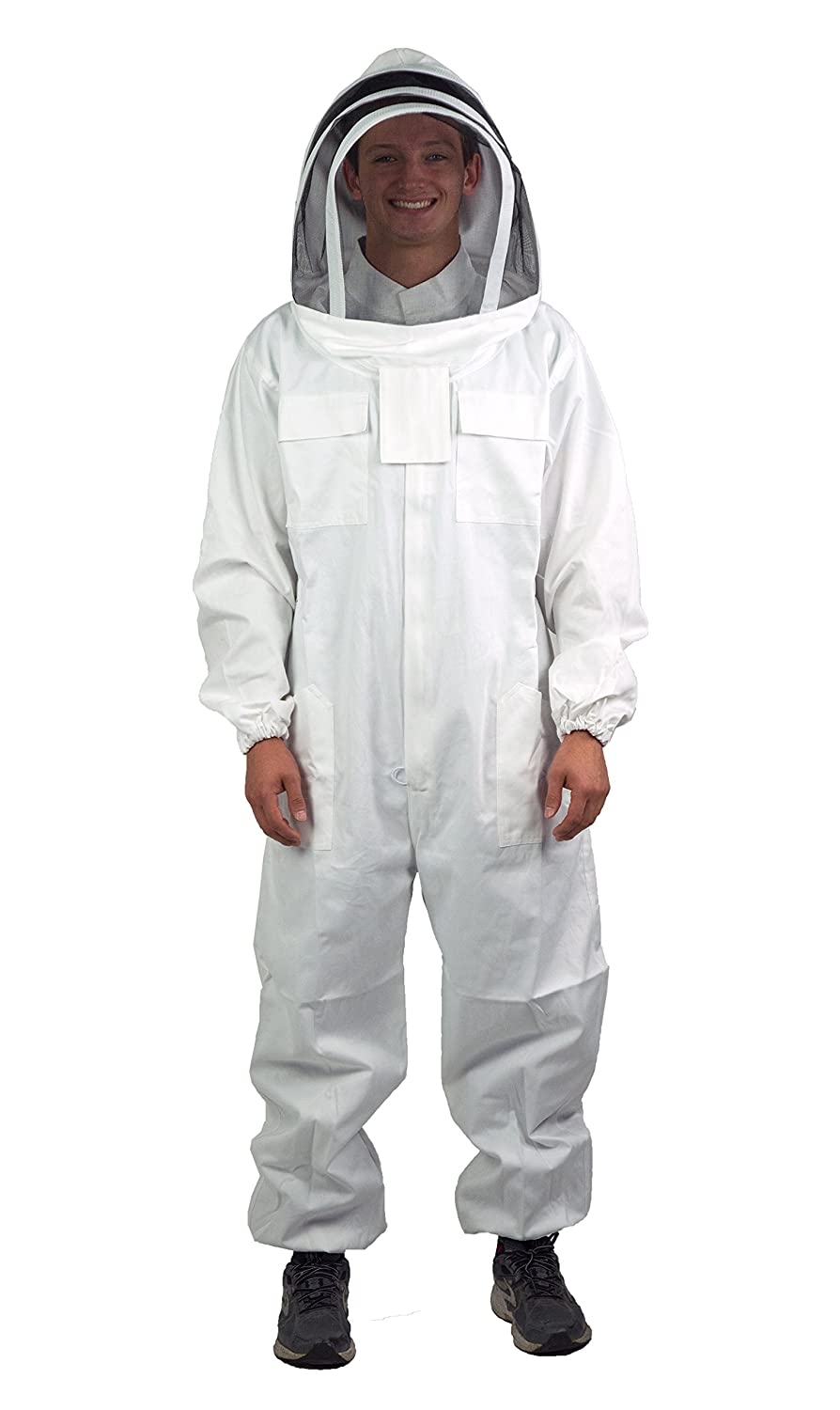 VIVO Professional Large Cotton Full Body Beekeeping Bee Keeping Suit, with Veil Hood (BEE-V106)