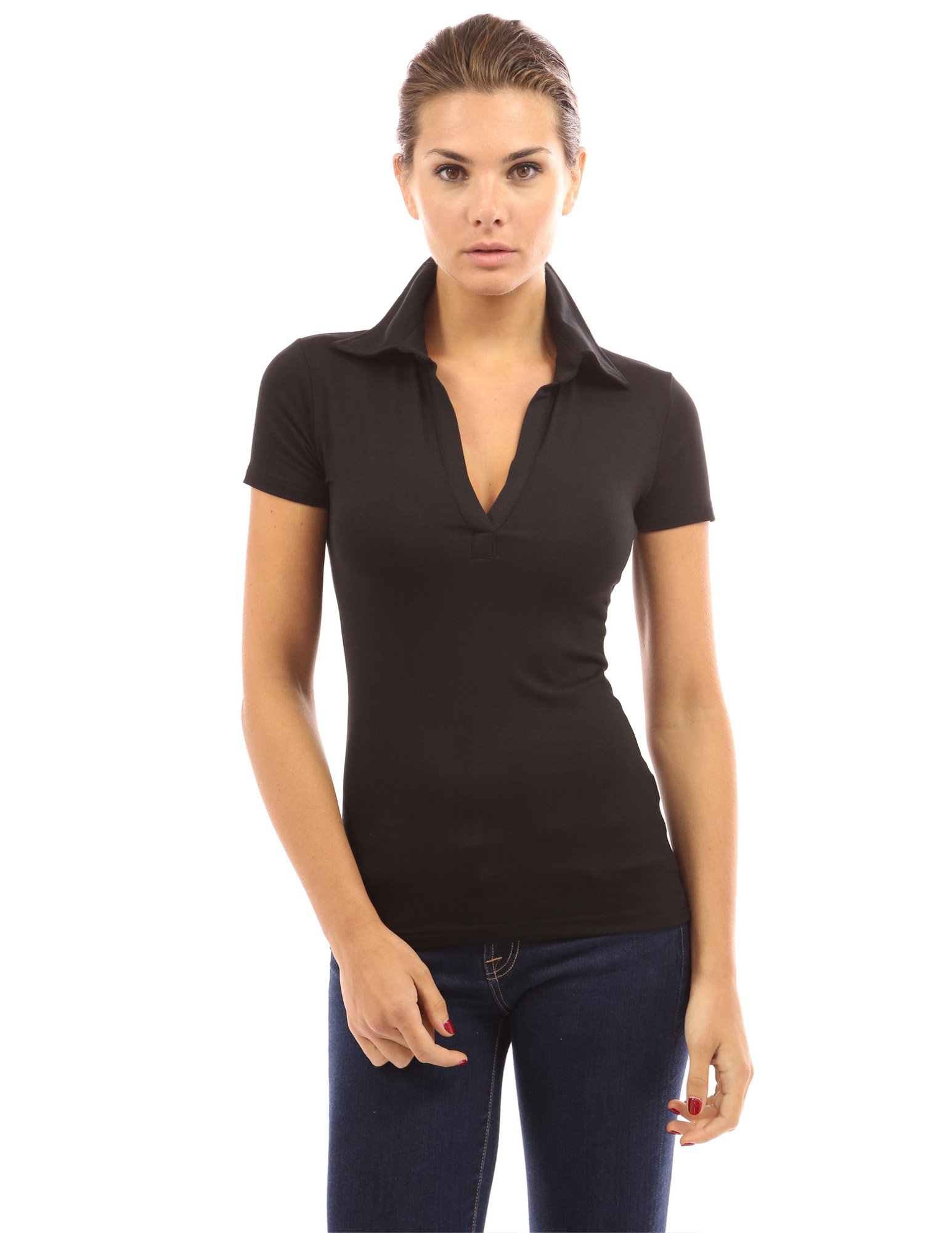 PattyBoutik Women V Neck Short Sleeve Polo Shirt (Black Medium) by PattyBoutik