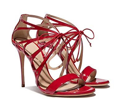Miyoopark LS0627 Women s Gladiator Lace-up Red Patent Leather Evening Dress  Sandals ...