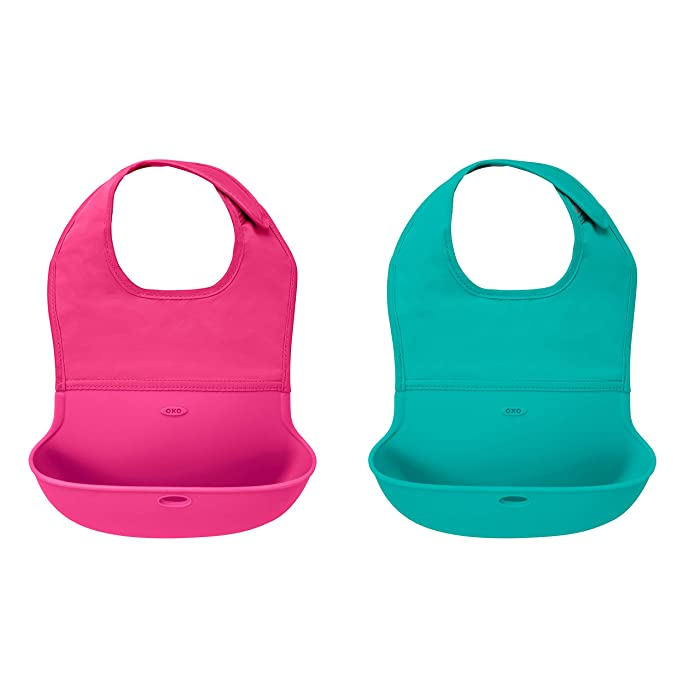 OXO Tot 2-Piece Waterproof Silicone Roll Up Bib with Comfort-Fit Fabric Neck, Pink/Teal