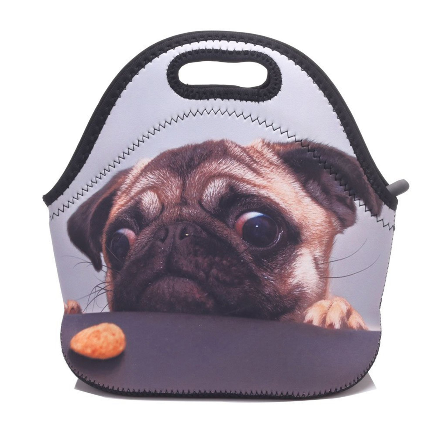 ZMvise Pretty Sad Pug Lunch Tote Insulated Reusable Picnic Lunch Bags Boxes Men Women Kids Toddler Nurses Travel Bag