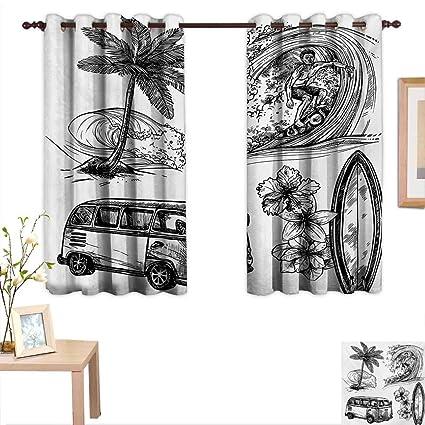 29391bb07550 Superlucky Surf Customized Curtains Surfing Sport Surfboard Beach Van  Sketch Style Artistic Monochromic Illustration 55 quot