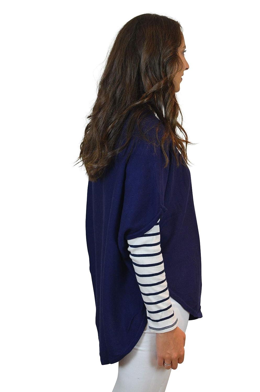 Mimi /& Thomas Lifes A Beach Navy Women Cashmere Cotton Round Neck Jumper Poncho