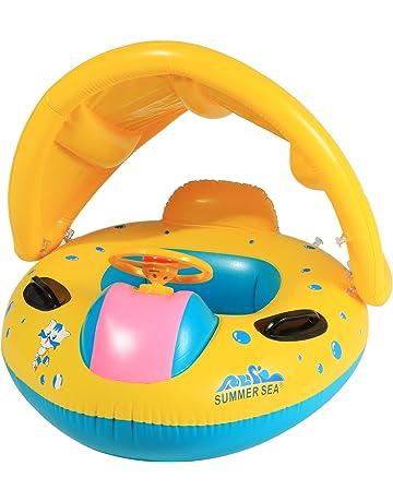 Profun Flotador Hinchable para Bebé con Asiento y Parasol Juguete de Piscina de Desarrollo de Natación