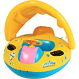 Funmily Baby Pool Float Inflatable Swimming Ring Pool Boat with Sunshade Canopy, Safety for Age