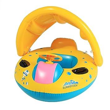 Arshiner Flotador para Bebé con Asiento y Techo Juguete de Piscina de Desarrollo de Nata Natación en Agua: Amazon.es: Juguetes y juegos
