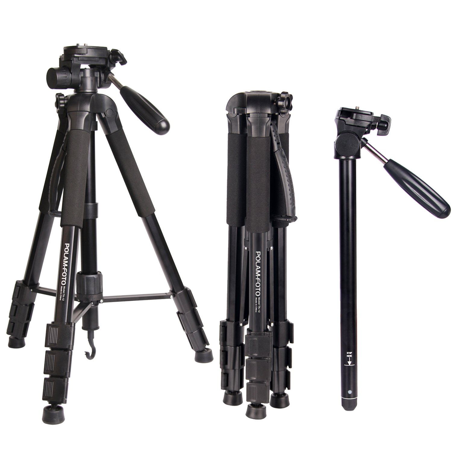 POLAM-FOTO 70''/176.5cm 2-in-1 Tripod Monopod-Camera Tripod AluminumTravel Tripod with Bag for Canon/Nikon/Sony DSLR/SLR Camera by POLAM-FOTO