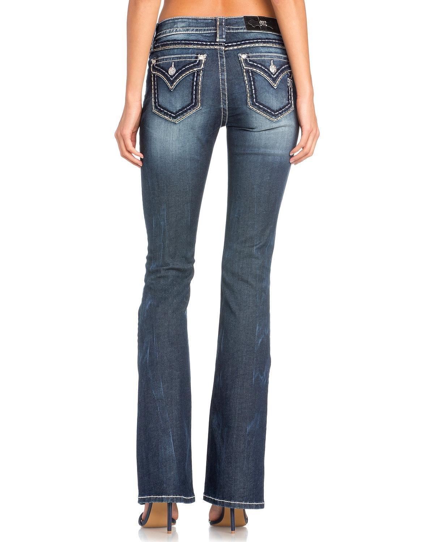 Miss Me Women's Classic Flap Pocket Boot Cut Jeans Indigo 29
