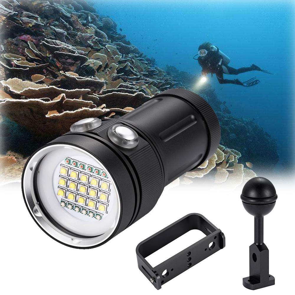 DOMINTY Diving Flashlight 25000LM 15x XM-L2+6X Red+6X UV LED Photography Video Scuba Dive Light Submarine Rechargeable Waterproof Underwater 100M Torch Handheld Flashlight(Light+2 Stand)