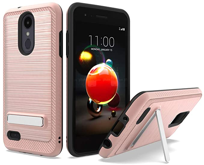 LG Aristo 3 /LG Tribute Empire Case, LG Phoenix 4 Case, Androgate [Silk  Series] Hybrid Matte Defender Phone Case Cover with Kickstand, Rose Gold
