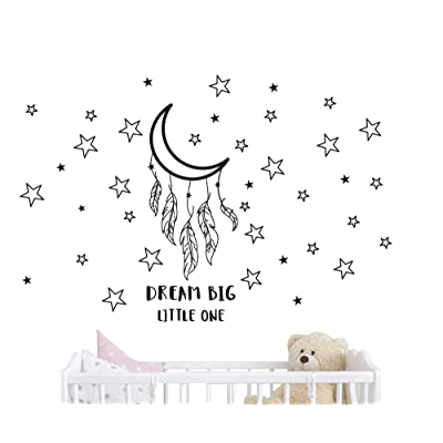 JOYRESIDE Dream Big Little One Night Sleep Wall Decal Vinyl Sticker Stars Decor Good Night Sticker Nursery Kids Babys Room Home Bedroom Quote Decoration YMX15 (Black, Small): Home & Kitchen [5Bkhe0303434]