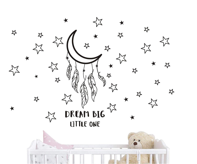 JOYRESIDE Dream Big Little One Night Sleep Wall Decal Vinyl Sticker Stars Decor Good Night Sticker Nursery Kids Babys Room Home Bedroom Quote Decoration YMX15 (Black, Small) JURUOXIN