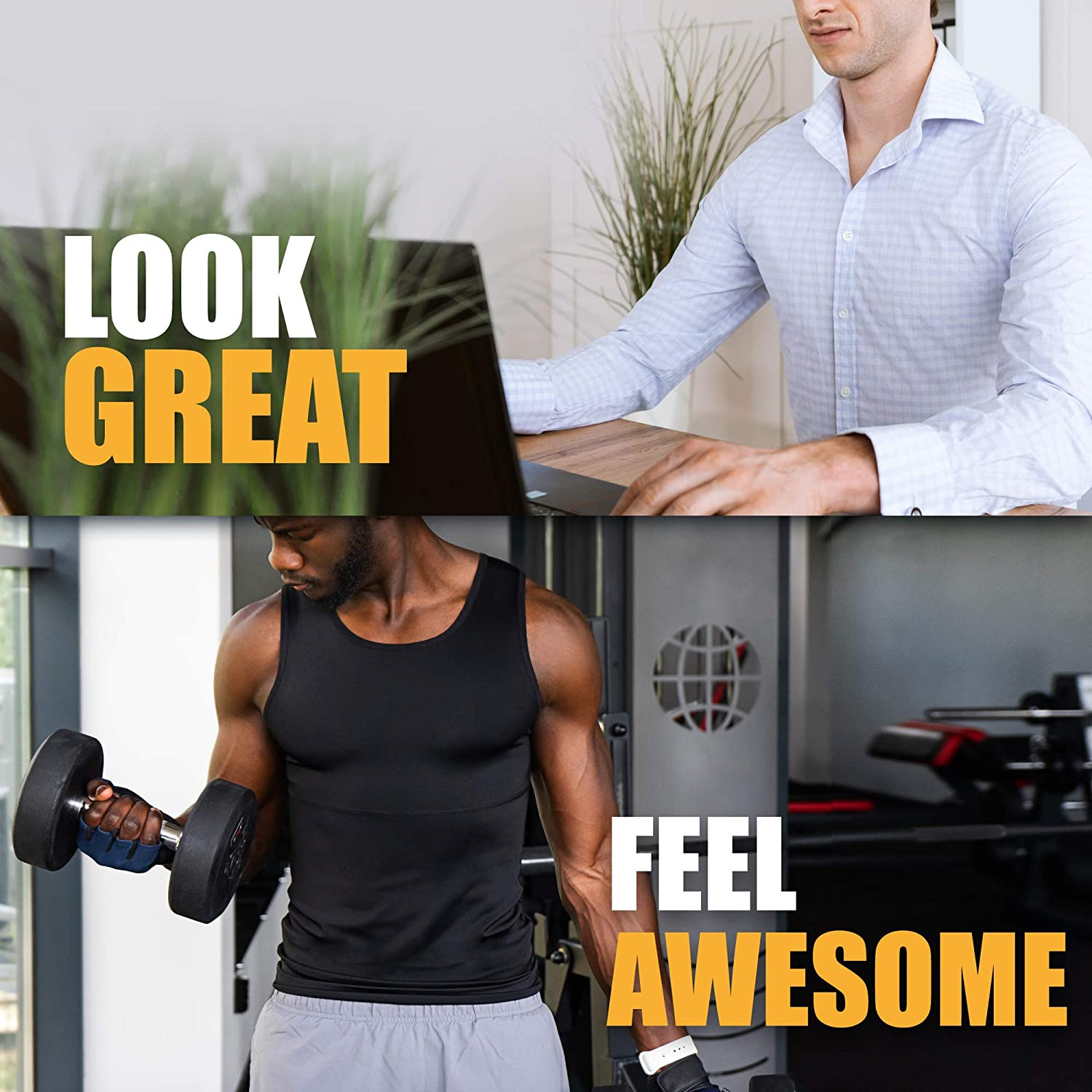 Compression T Shirts Men Mens Tops to Slim Your Waist /& Hide Excess Weight Sweating Effect Mens Vest Top /& Weight Training Shirt Men Mens Slimming Base Layer Mens Compression Tops for Men