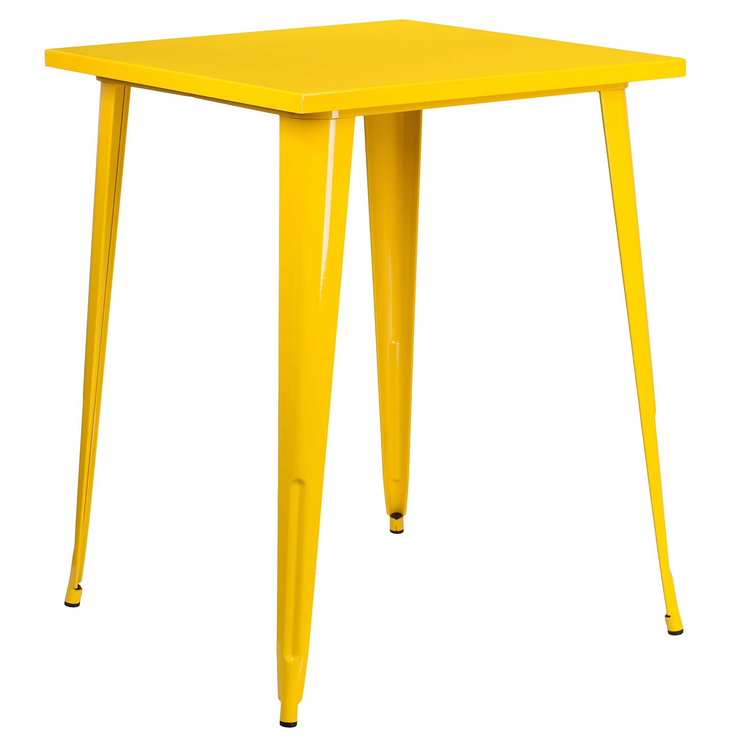 MFO 31.5'' Square Yellow Metal Indoor-Outdoor Bar Height Table by My Friendly Office