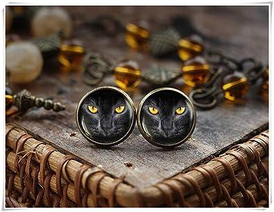 Pendientes de gato, ojos de gato amarillo negro, joyas para gatos, regalos para amantes de los gatos: Amazon.es: Joyería