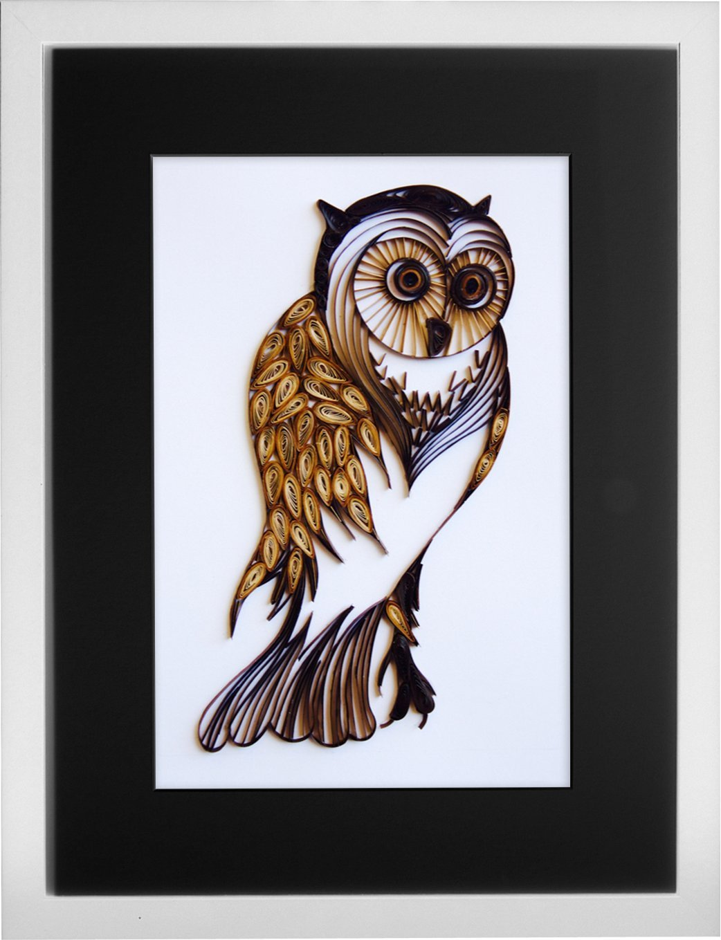 The Vintage Wise Owl - Modern Paper Quilled Wall Art for Home Decor (one of a kind paper quilling handcrafted piece made with love by an artist in California)