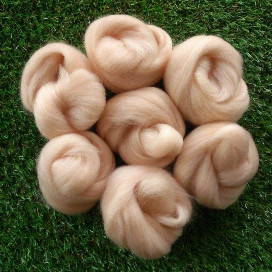 Z 45g Needle Felting Light Pink Flesh Skin Tones Felting Wool Roving Fibre Wool for 3D Projects DIY Needle Felting. Color : 25g