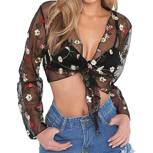 Mujer camisa de manga larga, Yannerr casual populares bordados florales de malla Blusa impresa tops