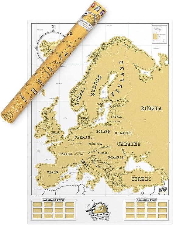 Luckies Of London, LUKEU, Mapa De Europa, Mapa Fisico De Europa, Mapa Para Rascar: Varios Autores: Amazon.es: Oficina y papelería