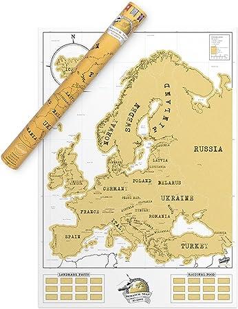 Mappa dellEuropa da grattare Scratchable Map Europe Benbridge Lunica Mappa da Grattare Made in Italy Viaggia e Gratta Via gli Stati che hai Visitato Personalizzando la Tua Mappa !!