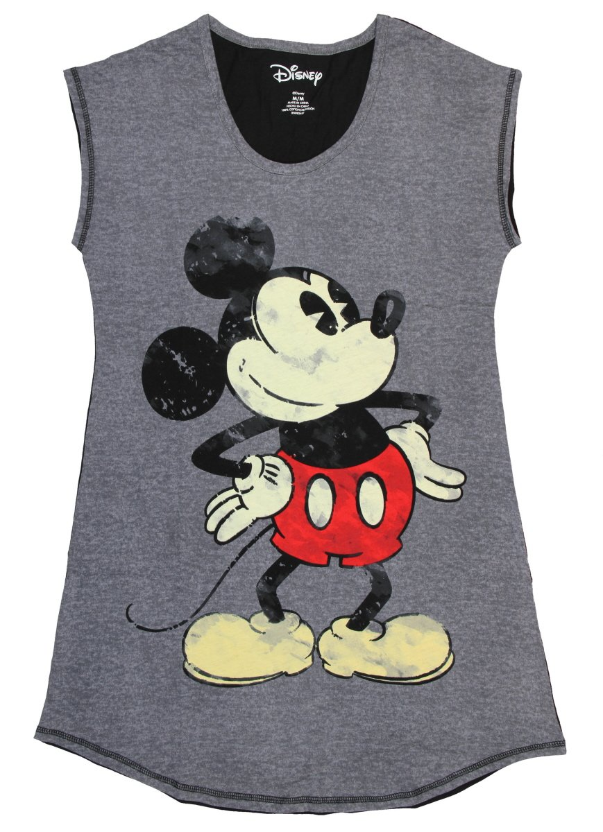 Disney Women's Mickey Mouse Nightgown, Dark Gray, M