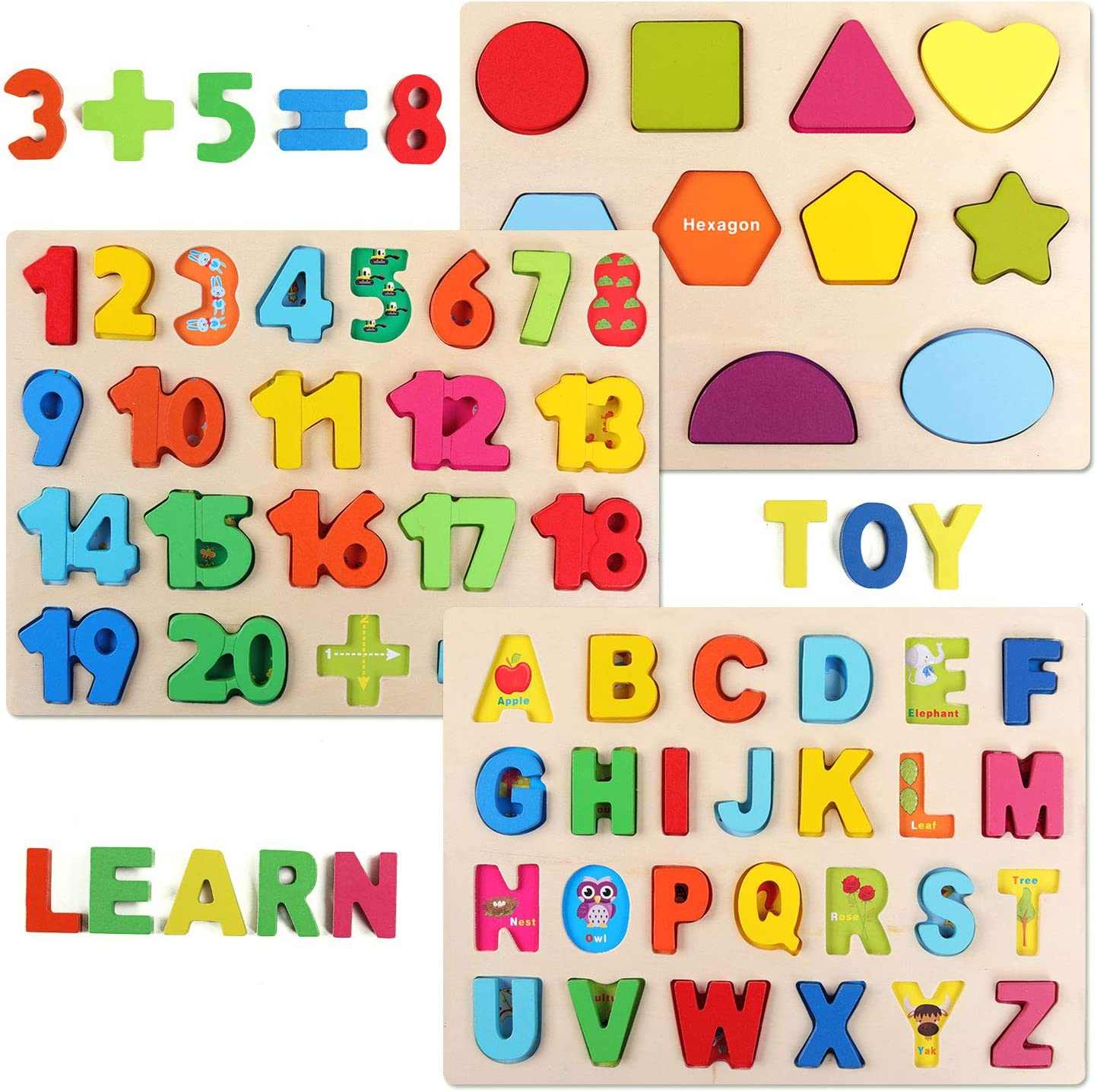 3 in 1,Montessor Puzzle for Toddlers Wooden Puzzles for Toddlers Wooden Alphabet Number Shape ABC Name Puzzles Toddler Learning Puzzle Toys for Kids 2-6 Years Old