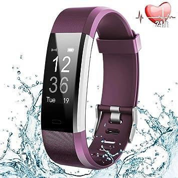 Montre Connectée, Bracelet Connecté Smartwatch Fitness Tracker dActivité Cardiofréquencemètre Podometre Etanche IP67 Cardio Sport Bluetooth Femme ...