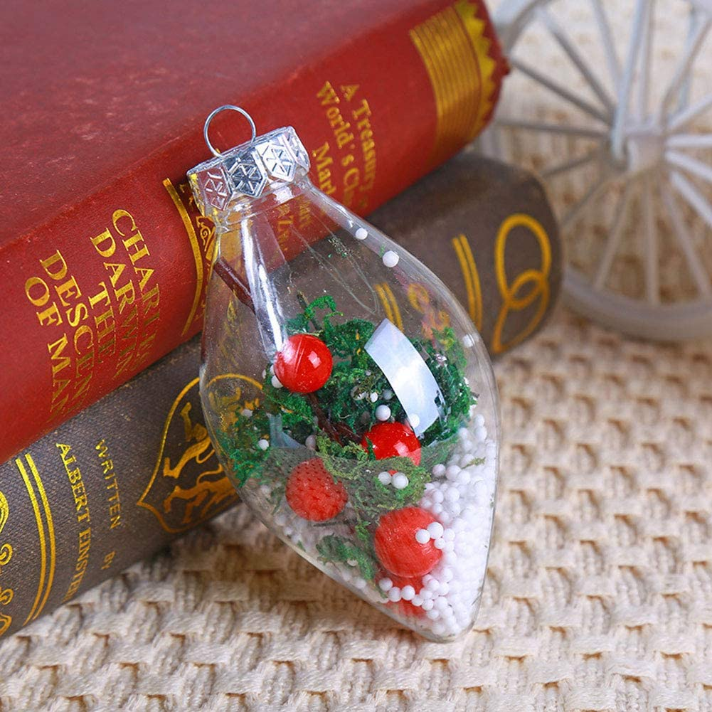 Homeofying Christmas Tree Ornament Transparent Pointed Ends Ball Hanging Window Decoration Random Color