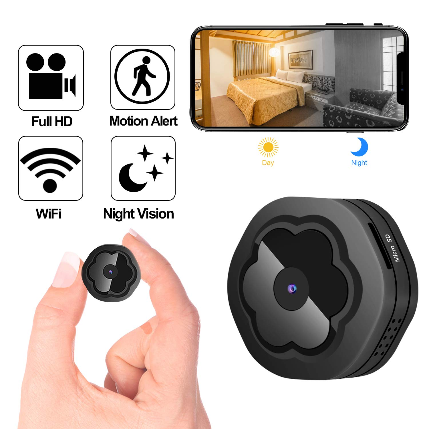 Mini WiFi Hidden Camera,Wireless Spy Camera HD 1080P Security Camera for Home Nanny Cam with Night Vision Motion Detection, Built-in Magnetic Fit Indoor Outdoor Recording by JCberry