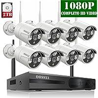 【2019 Nuevo】Sistema de Cámara de Video Seguridad, 8 Canal 1080P NVR Kit de Videovigilancia CCTV, 8 1080P IP Cámaras de Vigilancia WiFi Exterior, Remoto Control de Seguridad Inalámbrico, 2TB Disco Duro