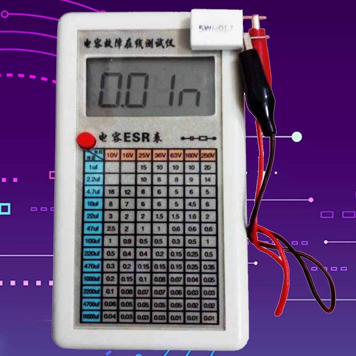 Medidor de Resistencia Interna del comprobador de ESR del Capacitor Digital LCD Prueba en el Circuito Blanco