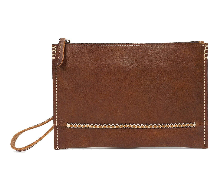 GROSSARTIG Mens Wallet Leather Clutch Bag Handmade Retro Fashion Slim Folders Pack Color : Brass, Size : S
