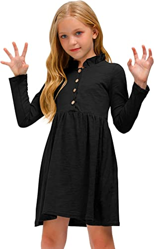 BesserBay Girls Ruffle Collar Button-Down Pleated Casual Swing Midi Dress 3-12 Years