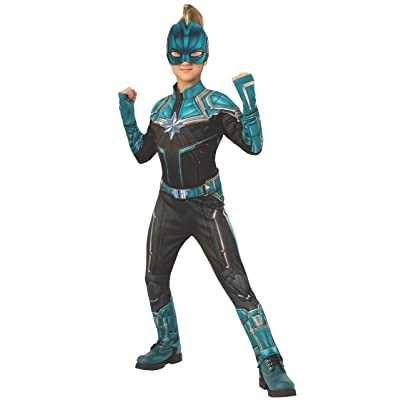 Rubie's Marvel Captain Marvel Child's Kree Costume Suit, Teal/Black, Medium: Toys & Games