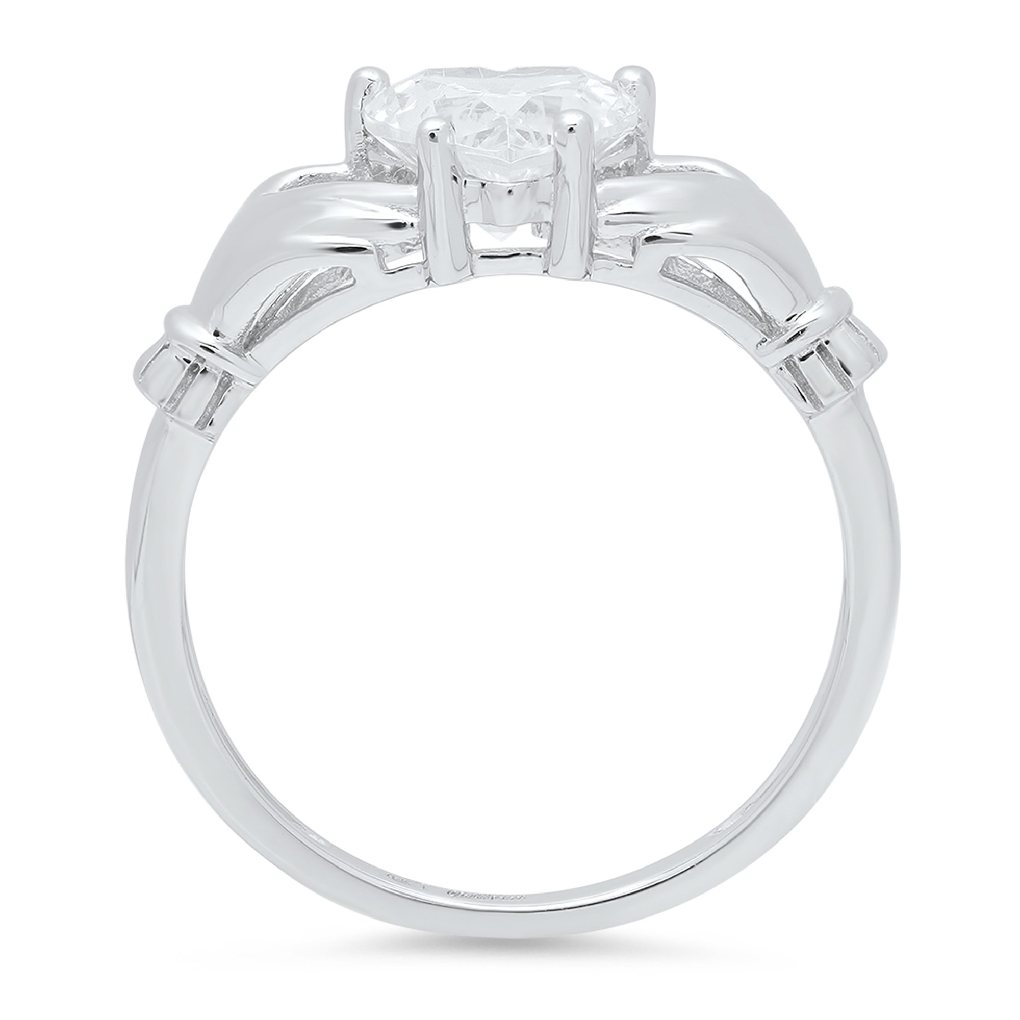 1.55 ct Brilliant Heart Cut Simulated Diamond CZ Designer Irish Celtic Claddagh Solitaire Wedding Promise Ring in Solid 14k White Gold by Clara Pucci (Image #2)