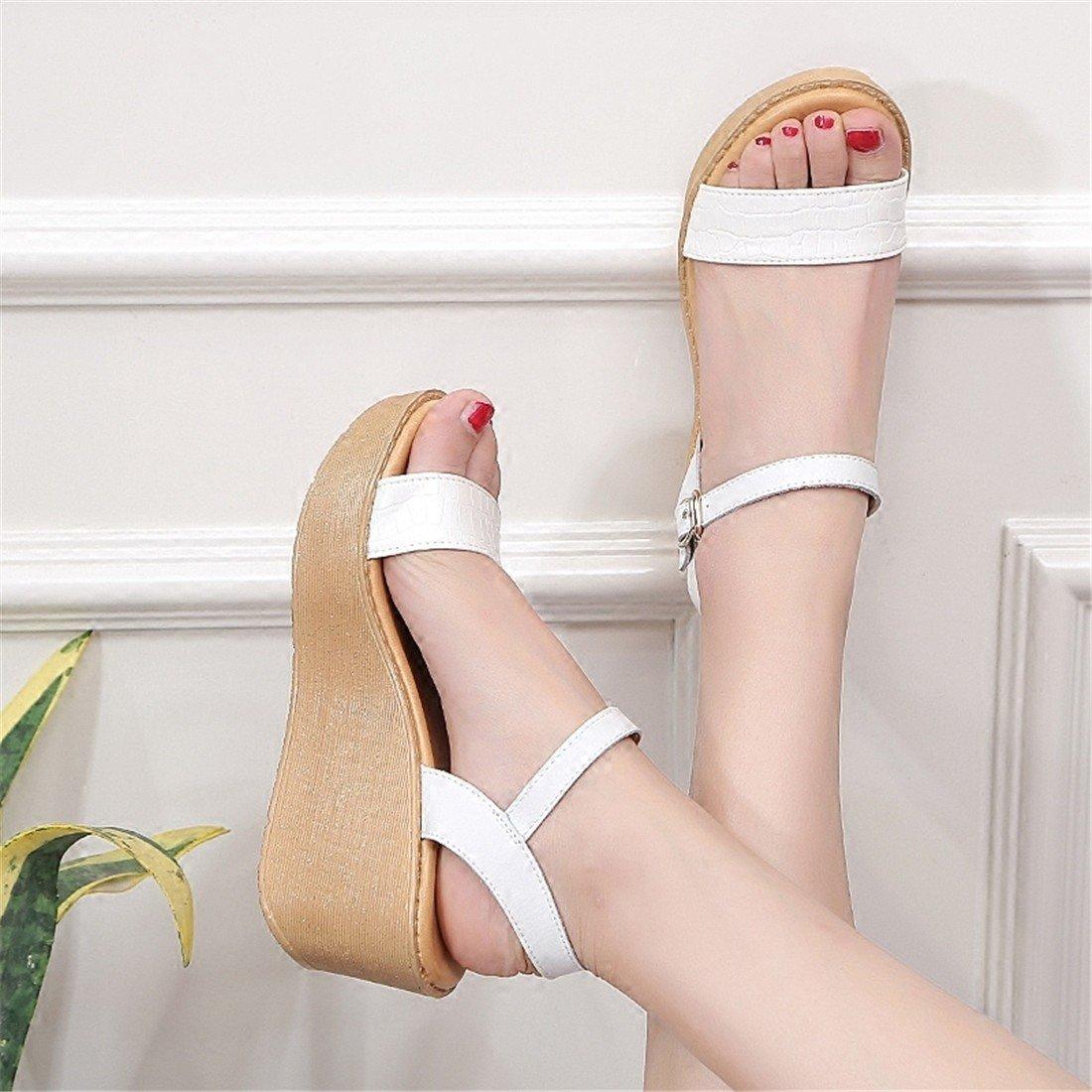 WXMDDN Sommer Damen Sandalen Einfache Heel Steigung Ferse High Heel Einfache Ein Wort Schnalle Hundertwasser Dicht Plateauschuhe Beige 9f3e97