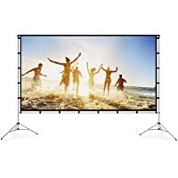 Vamvo Outdoor Indoor Projector Screen with Stand Foldable Portable Movie Screen 120 Inch (16:9) Full-Set Bag for Home…