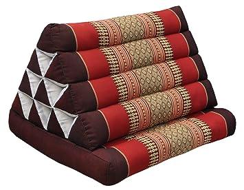 Wifash Cojín triangulo tailandés, con colchoneta plegable, Kapok, playa, piscina, fabricado en thailande, Rojo/burdeos (82301)