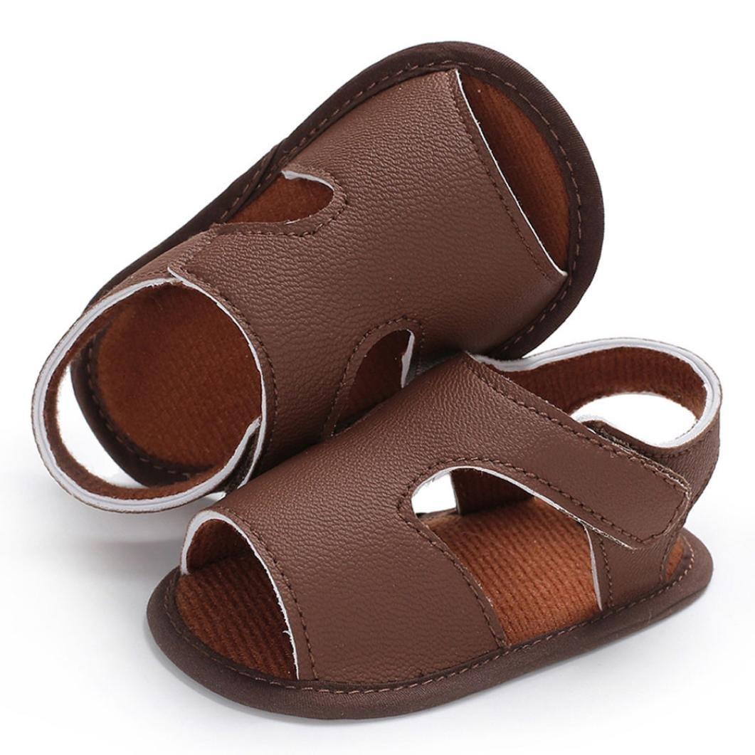 AMhomely Baby Newborn Boys Girls PU Leather Beach Sandals Non-Slip Prewalker Casual Sneakers Black 0-6 Months