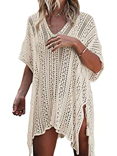 335c243901796 Women Cover-ups Swimwear Pure V-Neck Crochet Hollow-Out Tassels Cover Beach